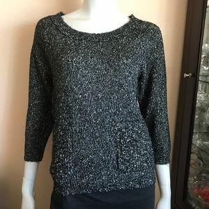 Madewell Wallace Black Gold Metallic Sweater XS